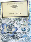 Raymond Waites Cotton Tablecloth Foral Blues Greens Butter White 60 x 120 NEW
