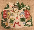 Fitz & Floyd Essentials 3D plate The Flurries Snowman carolers horse Christmas