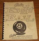 Bally Eight Ball pinball machine manual original complete