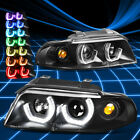 Black 3D Angel Eyes Projector Headlight+RGB Color Change for 1996-2001 B5 8D A4