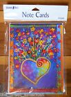 8 Leanin Tree Note Cards Bright Colorful Heart w Flowers Laurel Burch Made USA