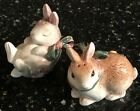 FITZ & FLOYD WOODLAND SPRING EASTER BUNNY RABBIT SALT AND PEPPER SHAKERS