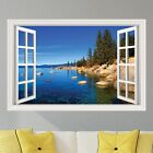 Lake Waterfront 2 Mountains Wall Decal Sticker Graphic Art Mural 4 Sizes