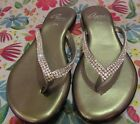 Rhinestone and Silver Thong flip flop Shoes Size 75 or 38 Made in Italy