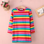 US SHIP Rainbow Cotton Girls Toddler Baby Kids Dress Clothes Striped Long sleeve