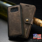Galaxy S7 S8+ Plus Note 8 Leather Removable Wallet Magnetic Flip Card Case Cover