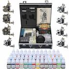 Complete Tattoo Kit 2 4 6 8 Machine Gun Power Supply 40 Ink Needles Set w Case