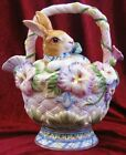 Fitz and Floyd Halcyon Bunny Rabbit Pansy Basket Teapot #63-405