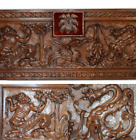 RARE French Antique Gothic Carved Wood Pediment Panel Griffin Dragon Centaur