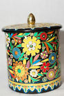 Vintage Colorful Floral Embossed Round Tin Container Canister Made In Holland