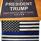 NEW 2 LAW ENFORCEMENT THIN BLUE LINE AND DONALD TRUMP MAGA PRESIDENT 3 X 5 FLAGS