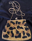 ANTIQUE 1920's FRENCH Glass Micro Beaded Change Purse Gold/Bronze/Black Tone