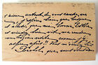 Rubber Stamp French Handwriting Background Script Tin Can Mail Large