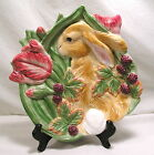 Fitz & Floyd Blackberry Rabbit Plate,Bunny Cabbage 3 Section Server Relish Dish