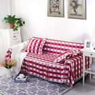 Checked Red Thick Cotton Blend Slipcover Sofa Cover lUSl for 1 2 3 4 seater