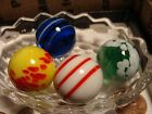 4 Art Glass Marbles Collection 1 in Shooters Corkscrew Guinea Wonderful Colors