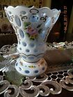 Bohemian Czech Cased Glass White Overlay Cut To Blue Hand painted florals - Vase