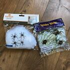NEW Stretch Spider Web With Spiders Halloween Party Decorations Lot of 2