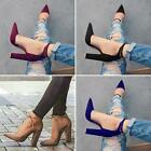 Womens Pointed Toe Ankle Strap Chunky Block Heel Pumps Casual Work Sandal Shoes