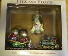 FITZ AND FLOYD Train, Sled, Gregorian Santa Glass Ornaments Set of 3