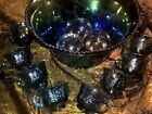 Indiana Glass Blue Carnival Harvest Princess Grape Punch Bowl  Cup Set