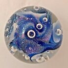 Ron Schuster 2.5 inch diam Blue Pastel Signed Dichroic Glass Paperweight DP-4