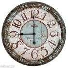 Large Rustic Turquoise 24 Round Metal Wall Clock Shabby Chic Home Decor