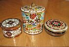LOT of 3 ~ VINTAGE EMBOSSED COLLECTIBLE TINS~MADE IN ENGLAND ~ FLORAL