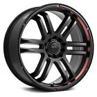 15x65 DRIFZ Wheels +42  5x1143  73 207B FX Rims Black with Red Lip Set of 4