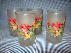 Set Of 4 Vintage White Satin w/Rose Floral Swanky Swig Style 8 Oz Glass Tumblers