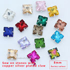 20p 8mm square sew on faceted crystal glass rhinestones jewels silver base beads