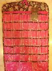RAYMOND WAITES HANGING JEWELRY ORGANIZER  BROWN PINK FLORAL  66 POCKETS NWT
