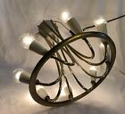 Vintage Mid Century Modern Brass 8 Light Flush Mount Ceiling Fixture Chandel