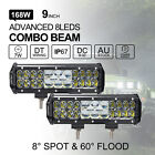 Pair 9 Inch 168W Philips LED Light Bar Spot Flood Combo Work Driving 12V 24V 12