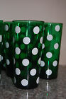VINTAGE GREEN POLKA DOT GLASSES MATCHING LOT ANCHOR HOCKING RARE KITCHEN DECOR