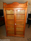 VINTAGE ANTIQUE WOOD GLASS CURIO CHINA CABINET DISPLAY  BOOK CASE CUPBOARD