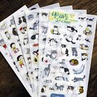 6 Pcs set Transparent Cartoon Cat Stickers DIY Paper PVC Photo Album Scrapbook