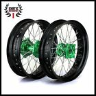 Wheel Kawasaki KX250F KX450F GREEN Hub Black Rim 17