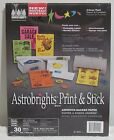 Astrobrights 22010 Print and Stick Adhesive Backed Paper 5 Color Pack New