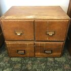 Rare Set 2 Antique Wooden Library Card Document Filer Drawers File Cabinet Boxes