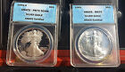 1991 2-PC $1 Eagle Walking Liberty Dollar 1 oz Silver Coin ANACS MS70 PR70 DCAM