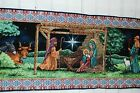 CHRISTMAS NATIVITY HOLY FAMILY WISEMEN TAPESTRY TABLE RUNNER 70 x 13 BLACK