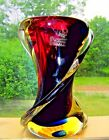 Beautiful Heavy Murano Swirled Blown Glass Vase Figurine signed Luigi Onesto