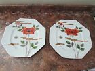 FITZ & FLOYD VTG 70'S FLEUR ET NUAGES OCTAGONAL RED & GOLD POPPIES 4 B&B PLATES