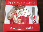 FITZ & FLOYD SWEET TREATS SNACK PLATE w/ SPREADER SET-CHRISTMAS-HOLIDAY-NIB