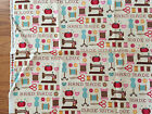 EXCLNT Hand Made With Love Sewing Machine Notions Fabric 1 yard cotton quilting