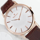 YVES CAMANI Ciron Mens Wrist Watch Slim Stainless Steel Rose Gold Plated New