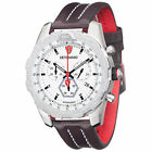 DETOMASO AIRBREAKER Mens Watch Chronograph Stainless Steel White Brown Leather