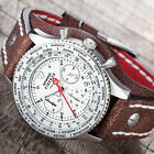 DETOMASO FIRENZE RETRO Mens Watch Chronograph Silver Brown Wide Leather Cuff New