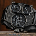 DETOMASO TRIPLO Mens Watch Chronograph 3 Time Zones Stainless Steel Black New